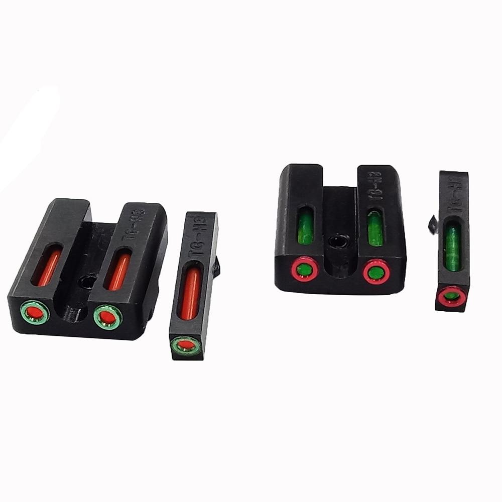 Conjunto de mira de fibra óptica Magorui-rojo/Verde vista trasera delantera para Glock