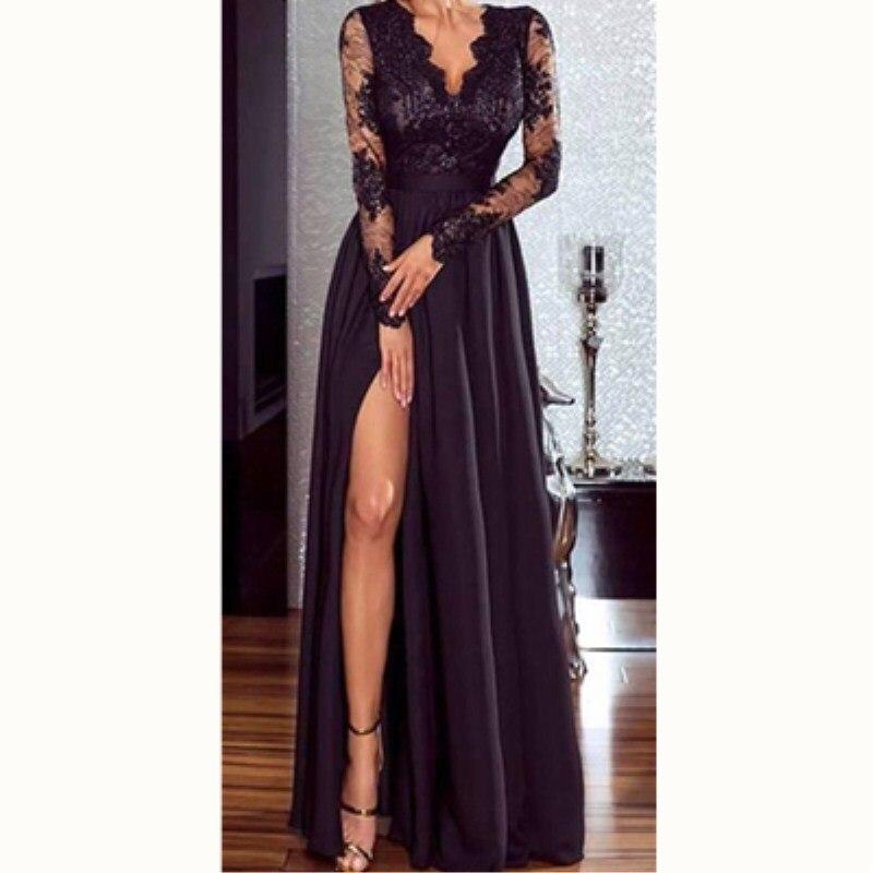 ¡Nuevo estilo de 2019! vestido largo Formal de encaje con cuello en V de alta calidad S-XL dos colores para mujer