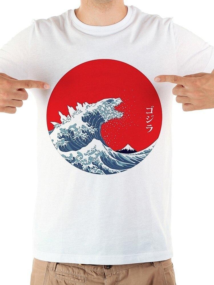 JAPÃO Tradicional Grande Onda fora de Kanagawa kaiju funny t shirt dos homens novos de verão de manga curta casuais branco gojira tshirt