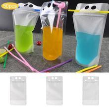 50pcs Disposable Portable Scrub Drink Bag Can Hold Beverage Transparent Juice Bag Liquid Ziplock Bag With Straw Beverage Bags