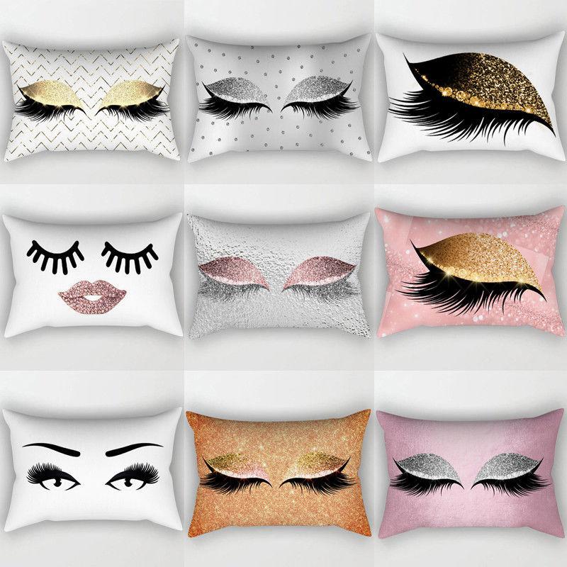 Funda de cojín de algodón con pestañas de lentejuelas creativas, funda de cojín para la cintura, funda de cojín para decoración del hogar, cojín de salón
