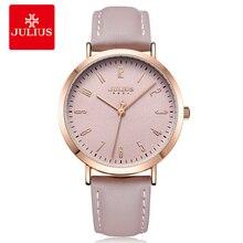 Montre Julius tout nouveau design Original Quartz Simple femmes-montres grand cadran rose bracelet en cuir femme horloge Montre JA-1017