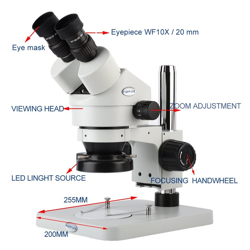 3.5X-90X escritorio Binocular estéreo microscopio compuesto Zoom soporte de mesa microscopio WF10X/20 ocular 0,7-4.5X Zoom objetivo