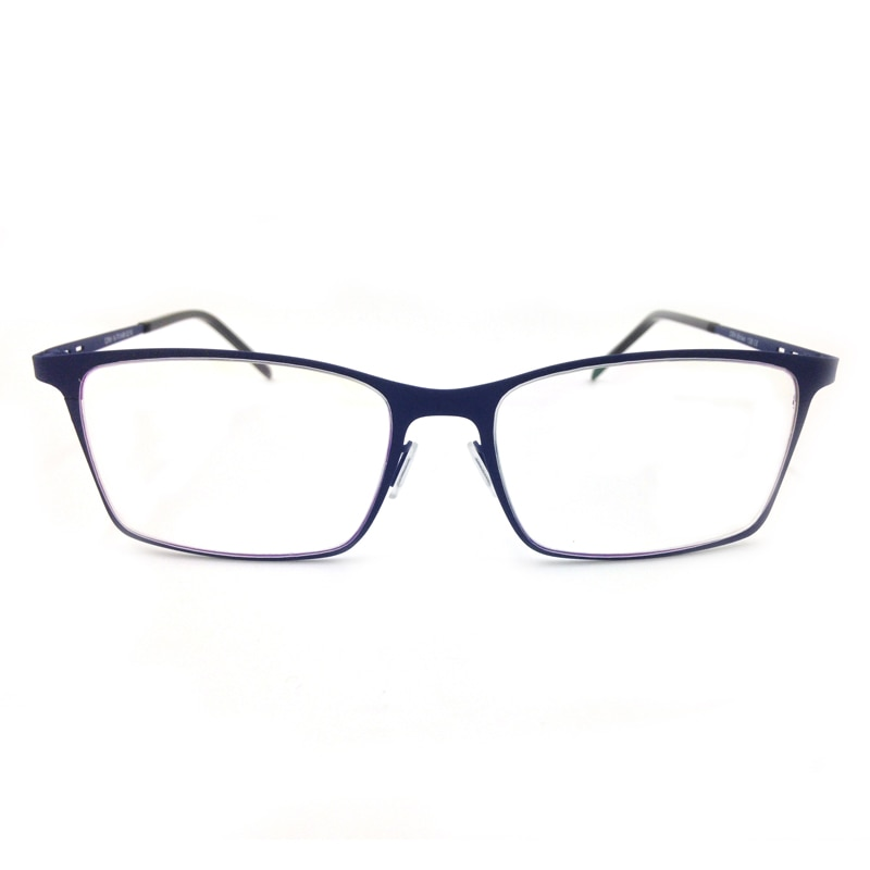 Montura de gafas óptica Flexible para hombres y mujeres con revestimiento de goma azul y negro de diseño de Italia de moda