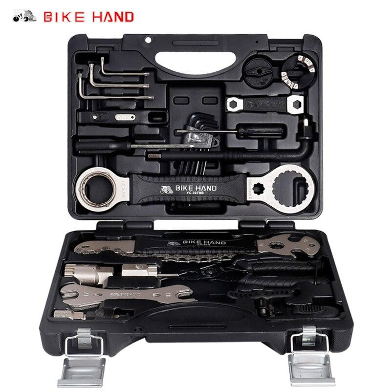 Kit de herramientas de servicio de bicicleta BIKEHAND YC-721 18 en 1, caja para manivela BB, soporte inferior, cubo, Pedal de rueda libre, cadena de radios, reparación