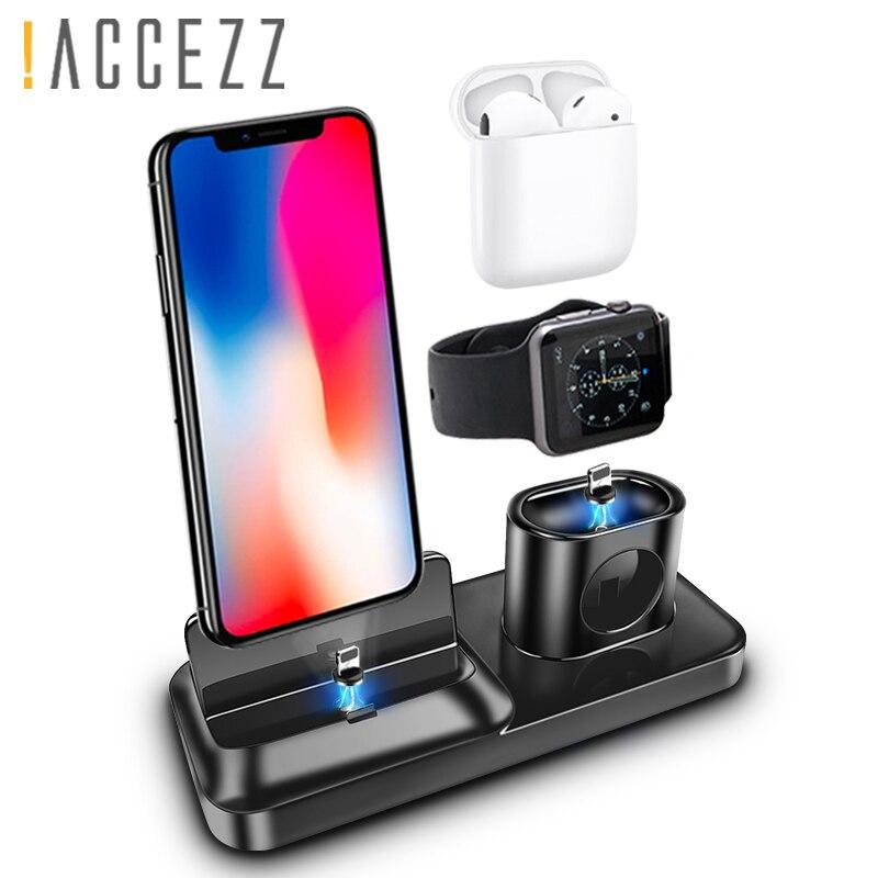 ! ACCEZZ 3 em 1 Secretária Titular Carregador de Carga Magnética Para iphone X XS MAX XR Para AirPods Apple i Assistir para Samsung Carregador Xiaomi