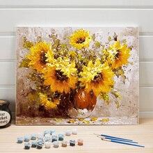Image peinture par numéro tournesol abstrait sur toile peinture à lhuile pour salon décoration murale acrylique coloriage Art adultes dessin