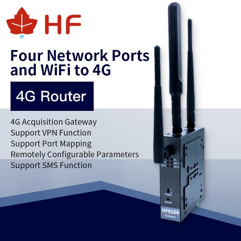 Высоколетающий официальный HF8104 4G/3G/GPRS 4 порта s RJ45 Linux система промышленный 4G маршрутизатор Поддержка порт MQTT D2D виртуальный порт канал