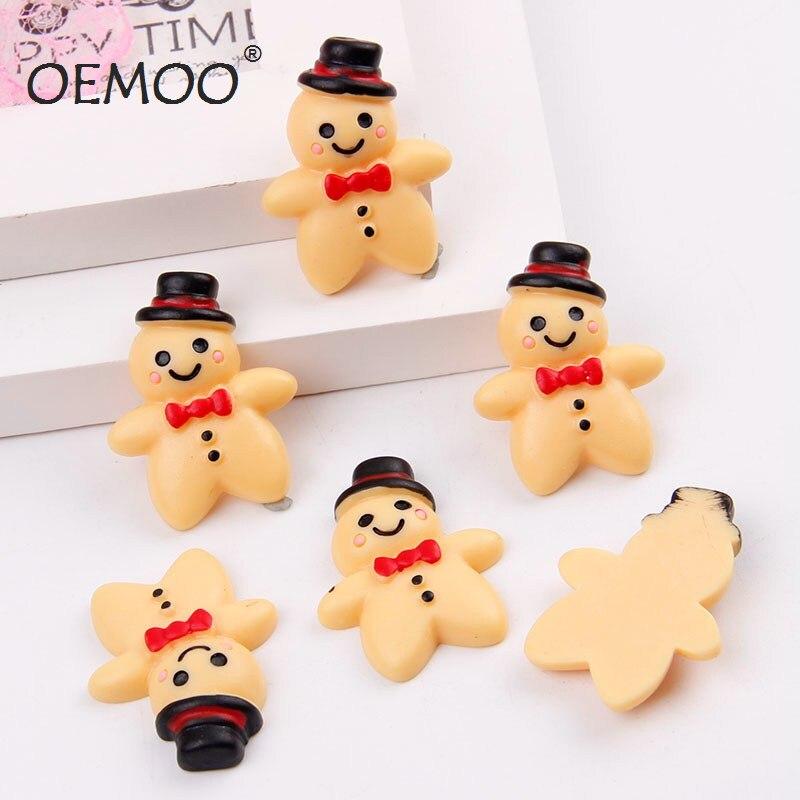50 pcs Resina do Boneco de Neve de Natal gingerbread man Cabochão Natator Artesanato Enfeite Para O Telefone & Garment 24*33mm