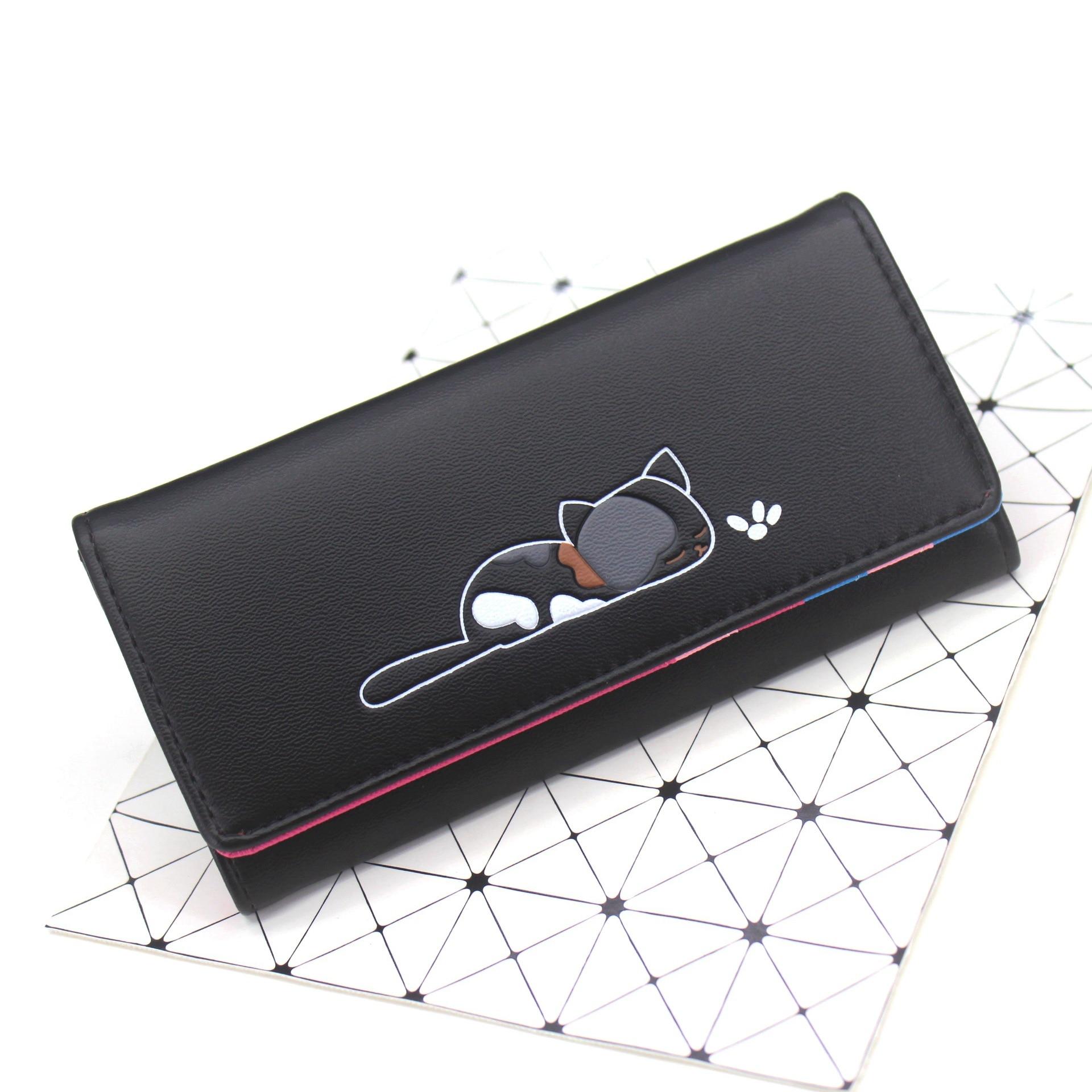 Женские бумажники из искусственной кожи с принтом кота из мультфильма, фирменные дизайнерские женские сумочки с монетками, женские сумочки с держателем для карт, милые сумочки billetera