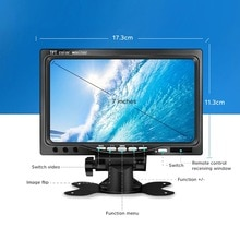 "Suntex 7"" TFT LCD Car Monitor Display Waterproof Backup Reverse Camera Wired Cameras Parking System for Car Rearview Monitors"