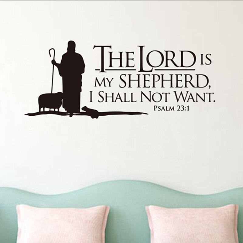 Psalms 23 El Señor es mi pastor letras de pared Mural vinilo calcomanías Biblia verso pared arte vinilo pegatinas cristianas