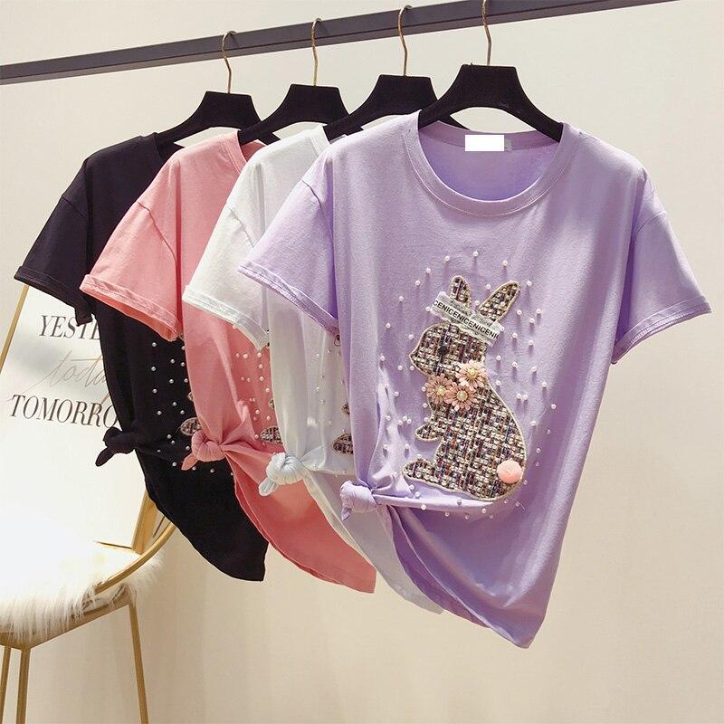 2019 nueva moda de verano jerseys de cuello redondo Top parche conejo rebordear manga corta Camisetas femeninas de algodón para estudiantes