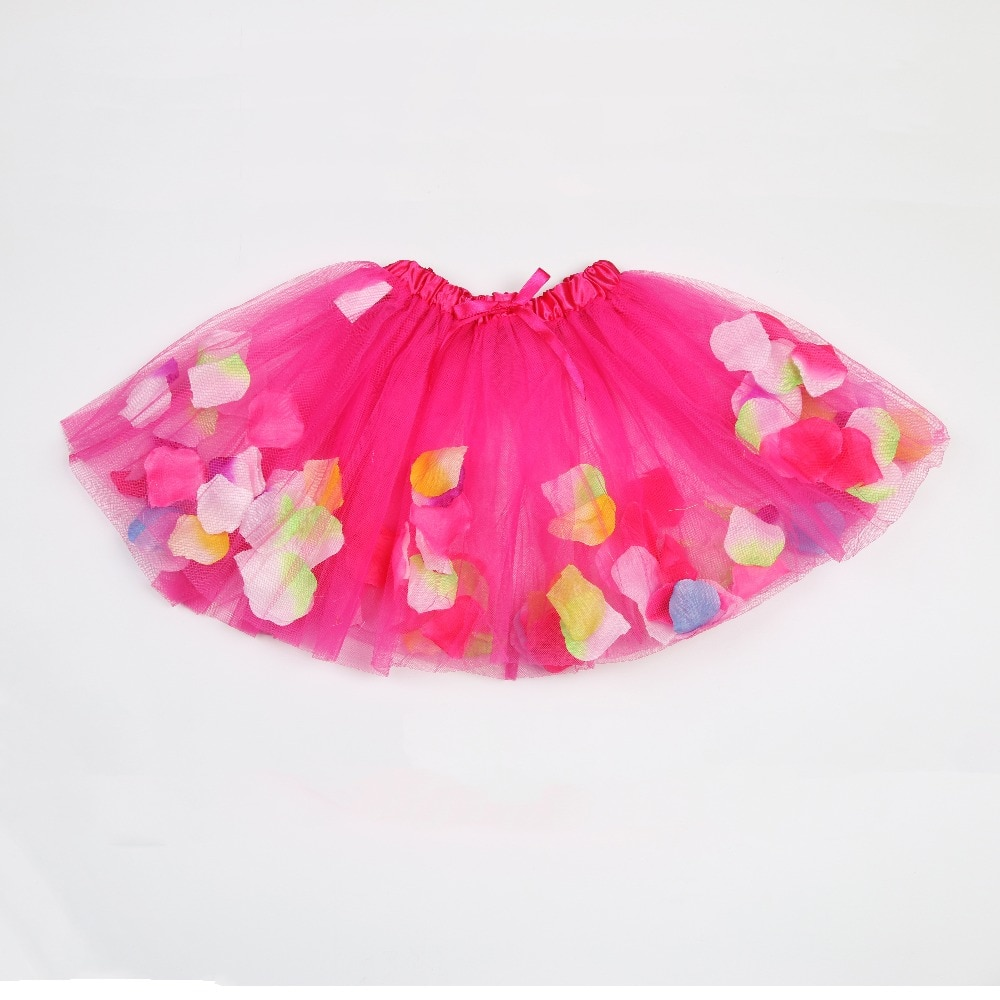 Fashion Children Girl Tutu Skirt With Petal Rainbow For Kids Girls Ballet Dance Party Tutus Fluffy Pettiskirt Colorful Gift