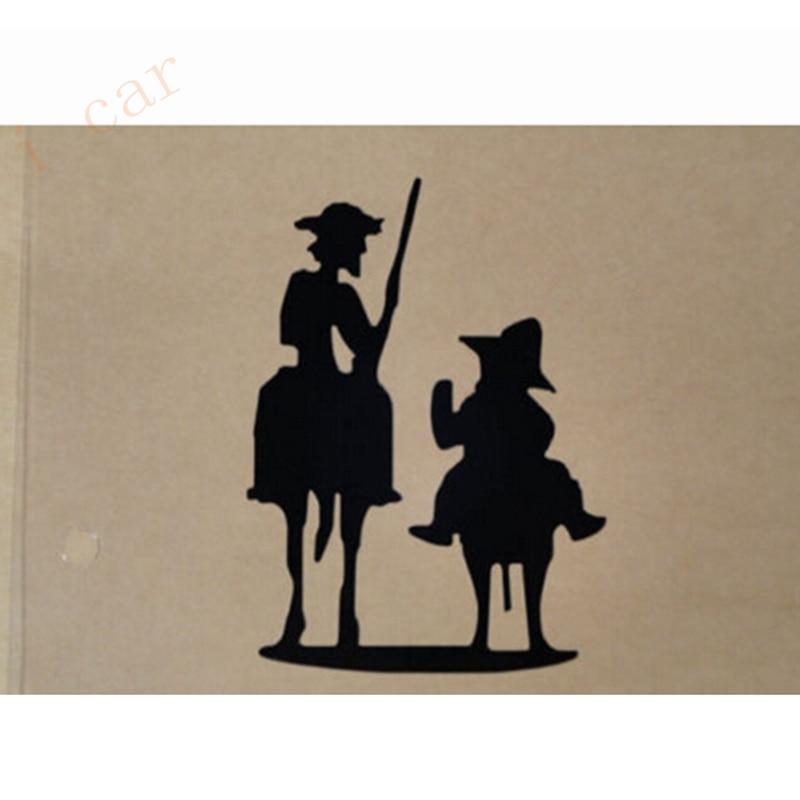 Pegatina de vinilo de la famosa novel Don Quijote Cervantes, boceto de personajes, pegatina para coche