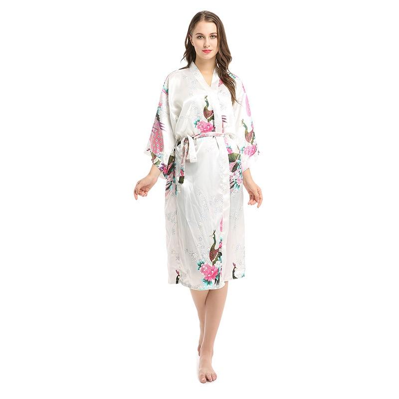 Silk Kimono Robe Bathrobe Women Satin Robe Silk Robes Night Sexy Robes Night Grow For female Summer house wear women sleepwear