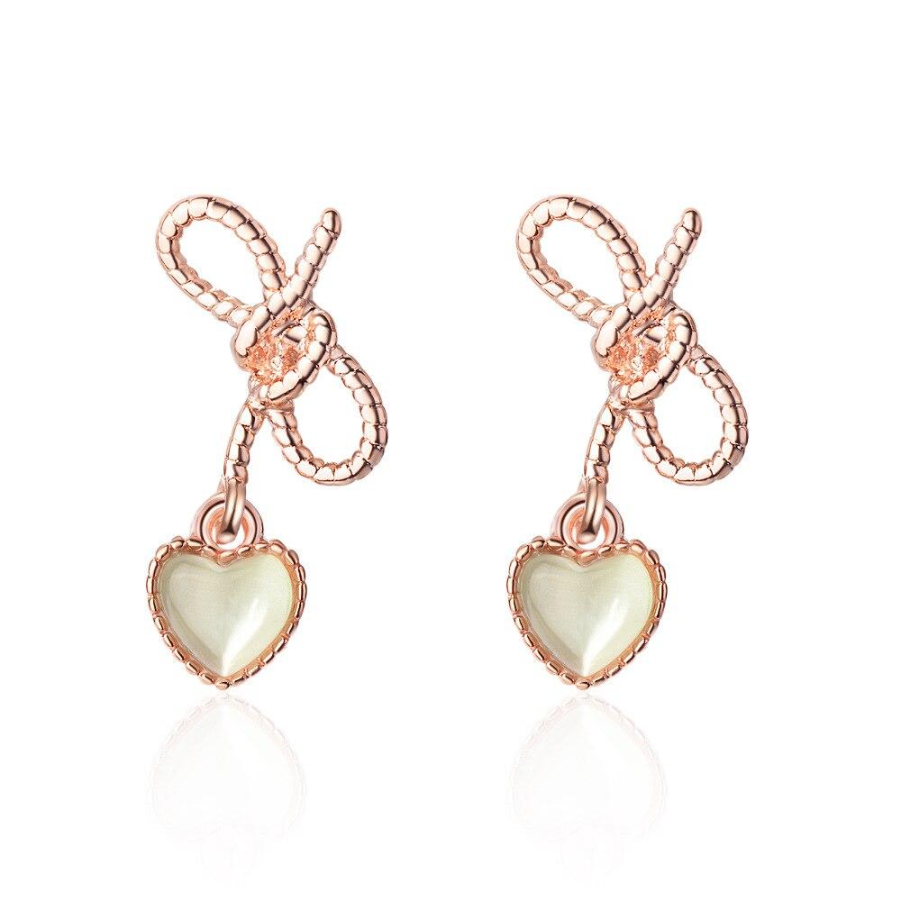 New Arrival Sweet Hollow Bowknot Opal Heart 925 Sterling Silver Earrings For Women Oorbellen Pendientes Birthday Gift