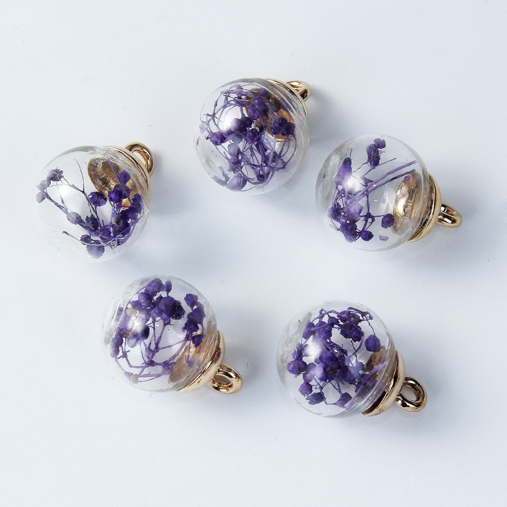 "DoreenBeads DIY colgante de cristal dijes de cuentas botella colorida flor seca transparente 22mm x 16mm (7/8 ""x 5/8"")-21mm x 16mm, 5 uds"