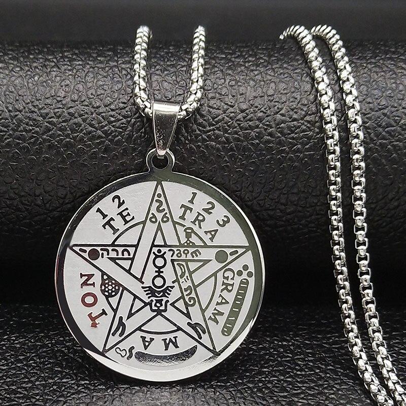 2020 moda bruxaria pentagrama colar de aço inoxidável corrente para homens cor prata colar jóias collier homme n1163s02