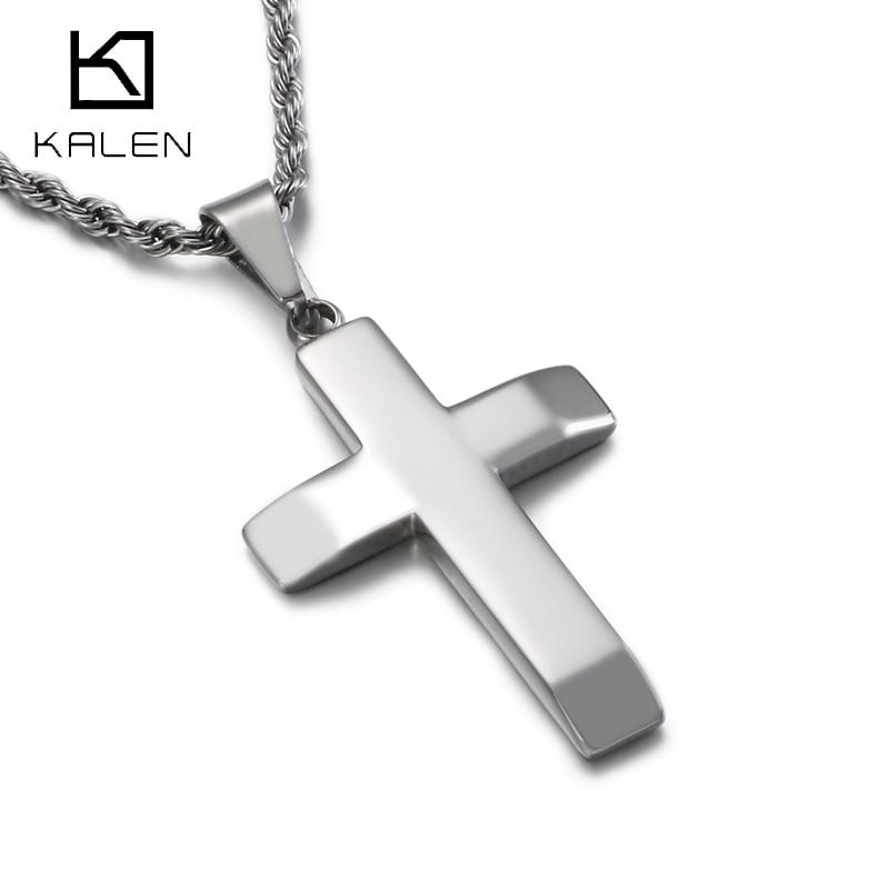 Gargantilla de Cruz Kalen New Link Homme de acero inoxidable de 36x25mm, Collares colgantes para hombre, Collares de joyería de fiesta Kolye