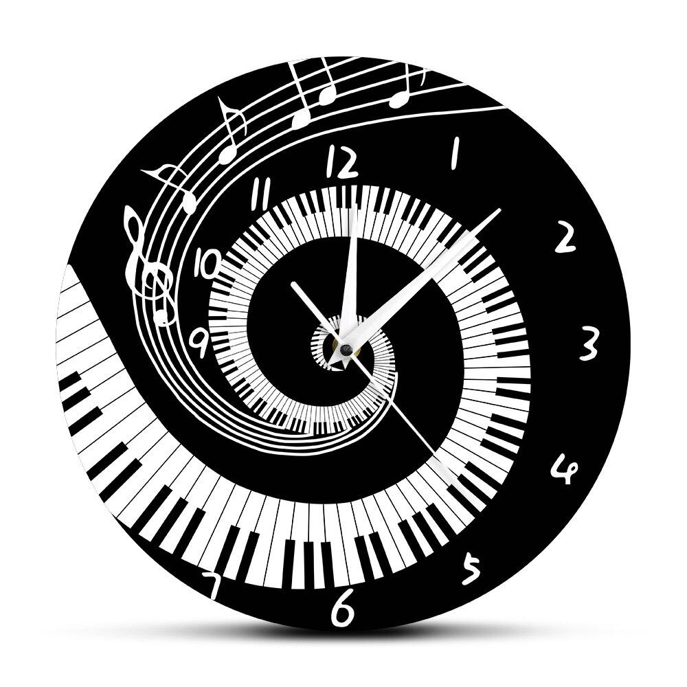 Elegante Piano teclas negro y blanco moderno reloj de pared notas de música ola redonda música teclado Reloj de pared música amante pianista regalo
