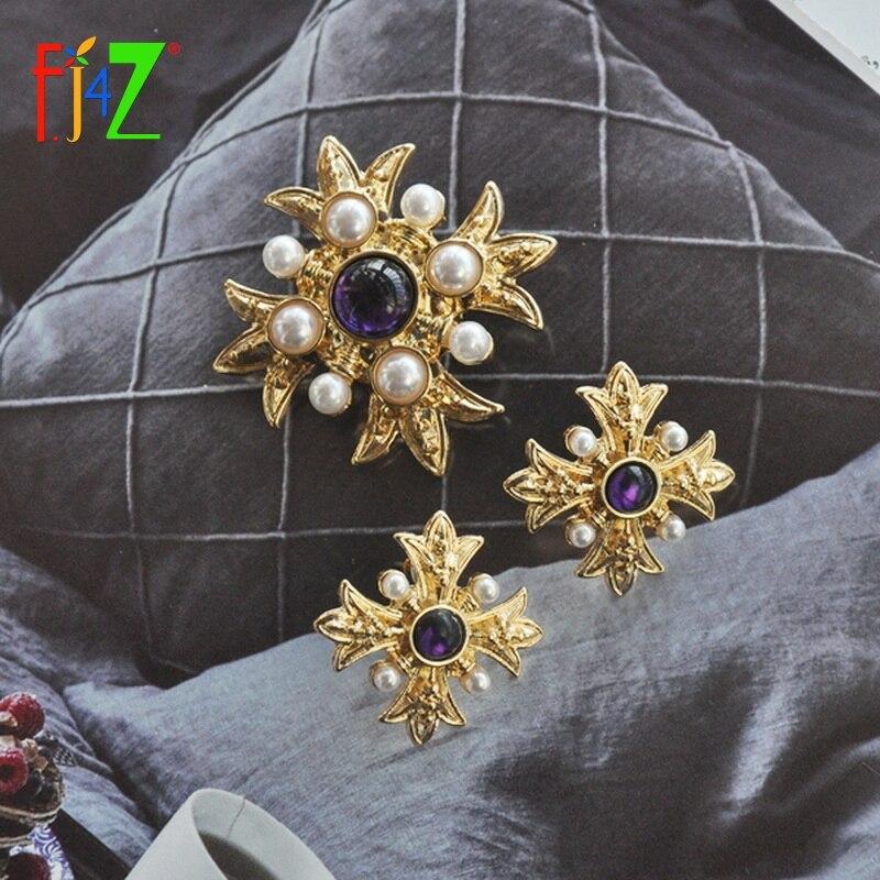 F. J4Z nueva moda antigua broches Nova resina piedra perla simulada mujeres Pins mujer declaración bisutería Brosche