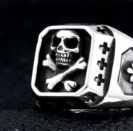 Прямая поставка размер 7 ~ 13 крест кости череп кольцо 316L нержавеющая сталь ювелирные изделия мода полировка черепа Призрак, кольцо байкера
