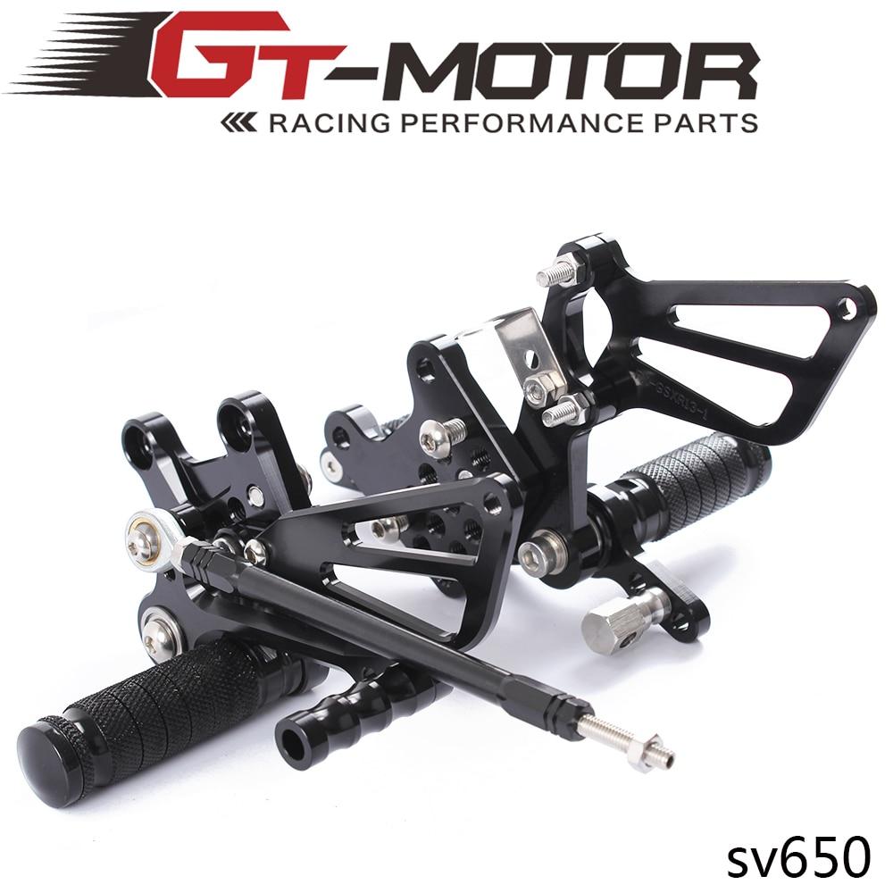 Juego completo de estribos traseros ajustables para motocicleta de aluminio CNC para Suzuki SV650 SV650S SV1000 SV1000S SV 650 1000 1998-2014