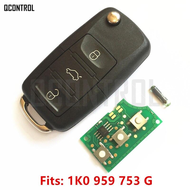 QCONTROL llave de control remoto para VW/VOLKSWAGEN CADDY/EOS/GOLF/JETTA/SIROCCO/TIGUAN/TOURAN 1K0959753 1K0 959 de 753 a 434MHz con ID48 Chip