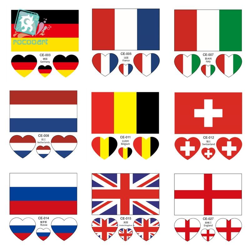 Latest Europe flag face sticker Germany France Italy Belgium England Scotland Netherlands Sweden national temporary tatoo