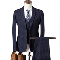 jacket vest pants 2019 spring new mens casual three piece suits sets male business fashion plaid slim blazers coat trousers