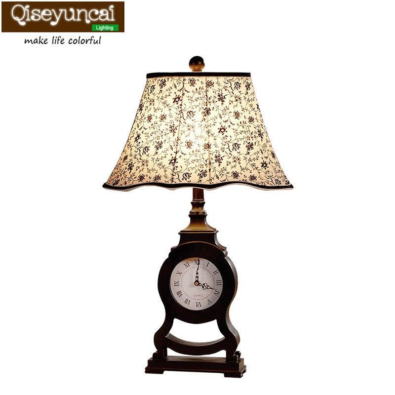 Qiseyuncai neoclássico Europeu lâmpada de mesa criativo relógio personalidade retro sala de estar decoração do quarto cabeceira candeeiro de mesa