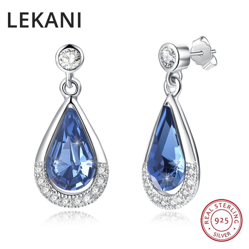 LEKANI, cristales de SWAROVSKI, joyería fina, pendientes de gota de agua de plata auténtica S925 para mujer, boda, fiesta, joyería Piercing de moda