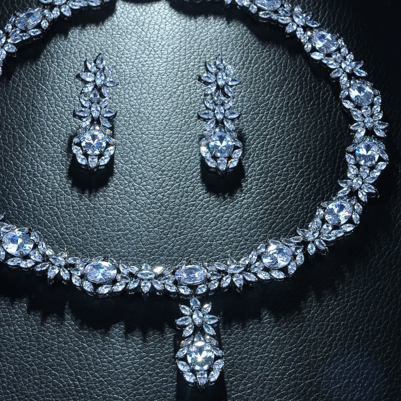 Be 8 Beautiful Sparkling AAA Cubic Zirconia Flower Shape Full Jewelry Set Women Bridal Gifts Earring Necklace Set S344