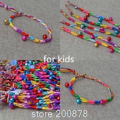 BB-018 Tibetani fatti a mano Fortunato Campane bracciale Per Bambini, colorfol filo di cotone di seta, 50pcs lotto del commercio allingrosso braccialetti di Amicizia