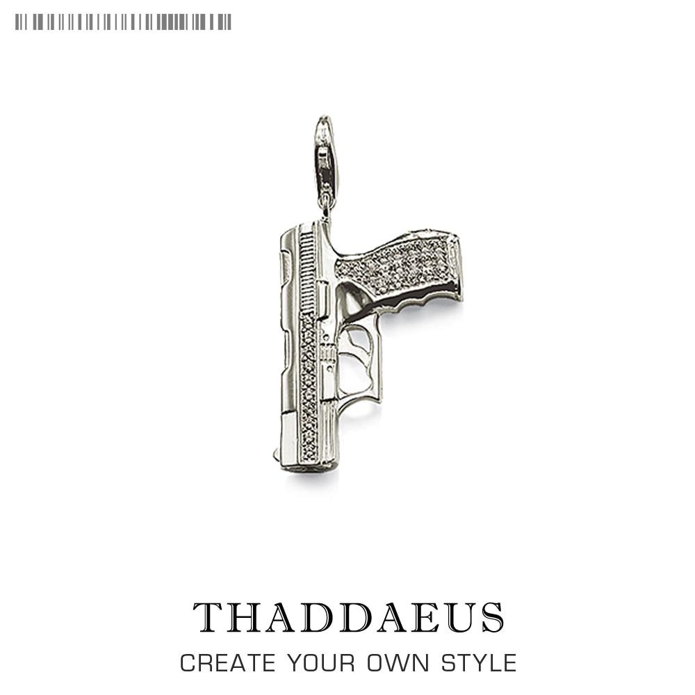 Charme pistola arma 925 prata esterlina para as mulheres & homens na moda clube presente thomas estilo charme diy jóias caber pulseira breloque