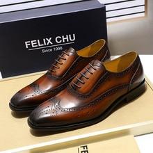 2019 luksusowe męskie Brogue Oxford prawdziwej skóry brązowy Lace-Up mężczyźni ubierają buty brytyjski styl biuro biznes formalne buty dla mężczyzn