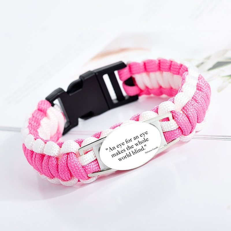Bonita pulsera con dije de la Biblia cristiana, pulsera de cuerda de Paracord rosa para mujer, joyería de cristal hecha a mano, regalo de amor para chicas