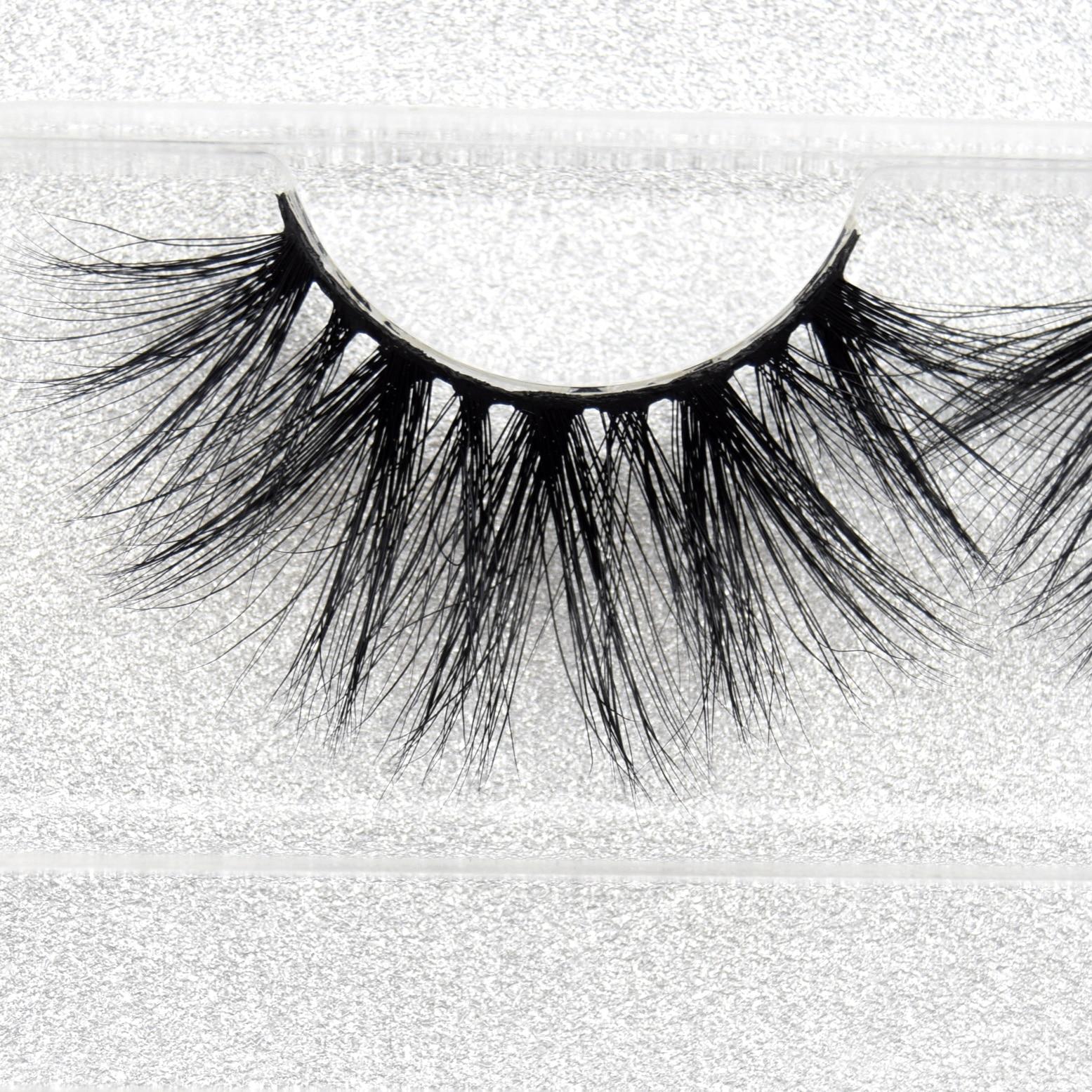 Visofree 25mm 100% Human Hair Eyelashes Clear Band Lashes Natural Look Glamorous Effect Handmade Lashes Makeup   E62