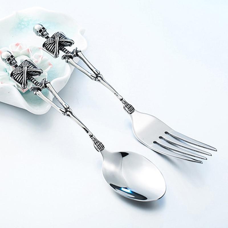 Caveira garfo colher talheres de aço titânio esqueleto halloween festa presentes mesa jantar do vintage talheres conjunto metal artesanato