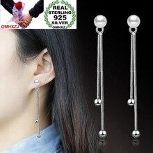 OMHXZJ Wholesale Jewelry Fashion joker Woman Gift Double Line Round Beads Pearl 925 Sterling Silver Tassel Stud Earrings YS243