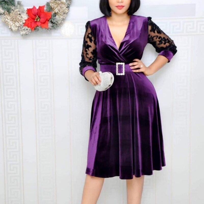 Women Dress Velvet Lace Patchwork Dresses Deep V Neck Short Sleeve Office Ladies Vestidos Elegant Spring Autumn Female Clothes