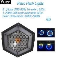 4pcslot retro flash lights 624pcs smd rgb leds color music disco dj par light club sound party stage lights free shipping