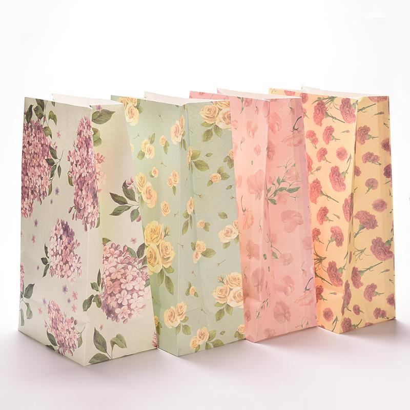 3 unids/lote de bolsas de papel impresas con flores de 23x13cm, bolsa de papel de regalo, portátil, adecuado para vivienda de fiesta, bolsa de regalo móvil, embalaje