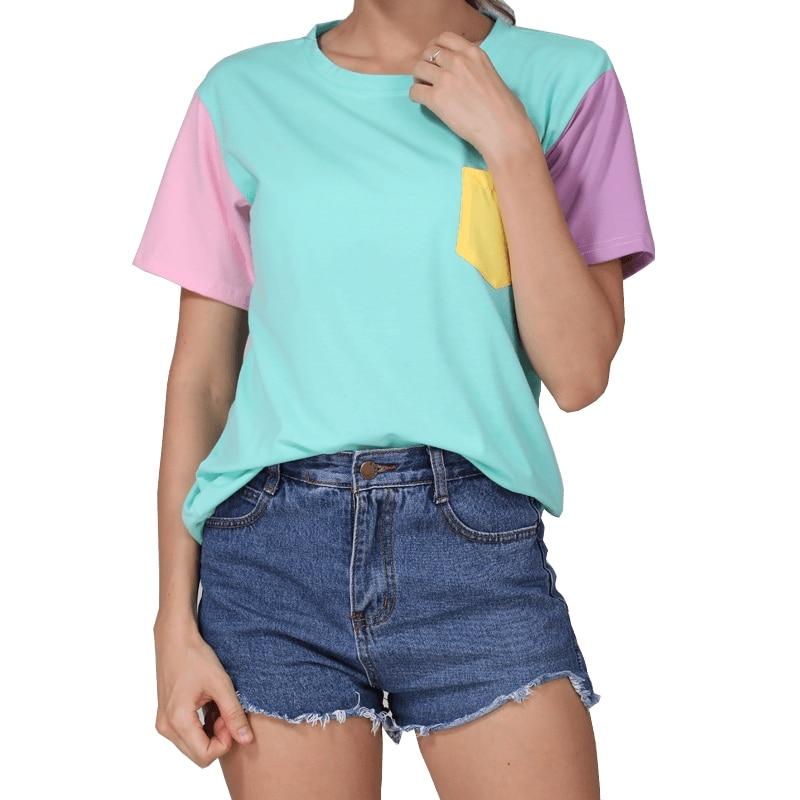 Estilo de verano de moda Harajuku Patchwork camisetas Kawaii Casual algodón hechizo Color Tops Patchwork Kpop camiseta Drop Shipping