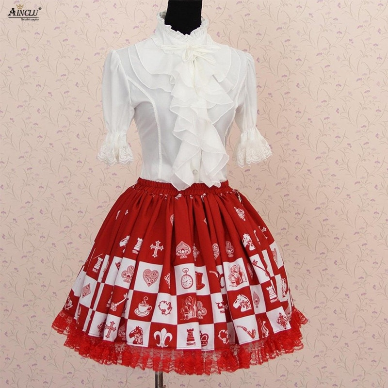 Summer 2018 Sweet Princess Lolita Lace Skirts Japanese Style Red Alice Chess Lattice Printed Lolita Pleated Cosplay Party Skirts