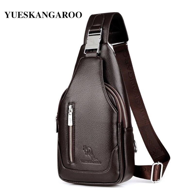 YUES marca KANGAROO, bolsa para el pecho para hombres, bandolera de cuero, bandolera de viaje, informal, Vintage, mochila para el pecho, bolso de hombro