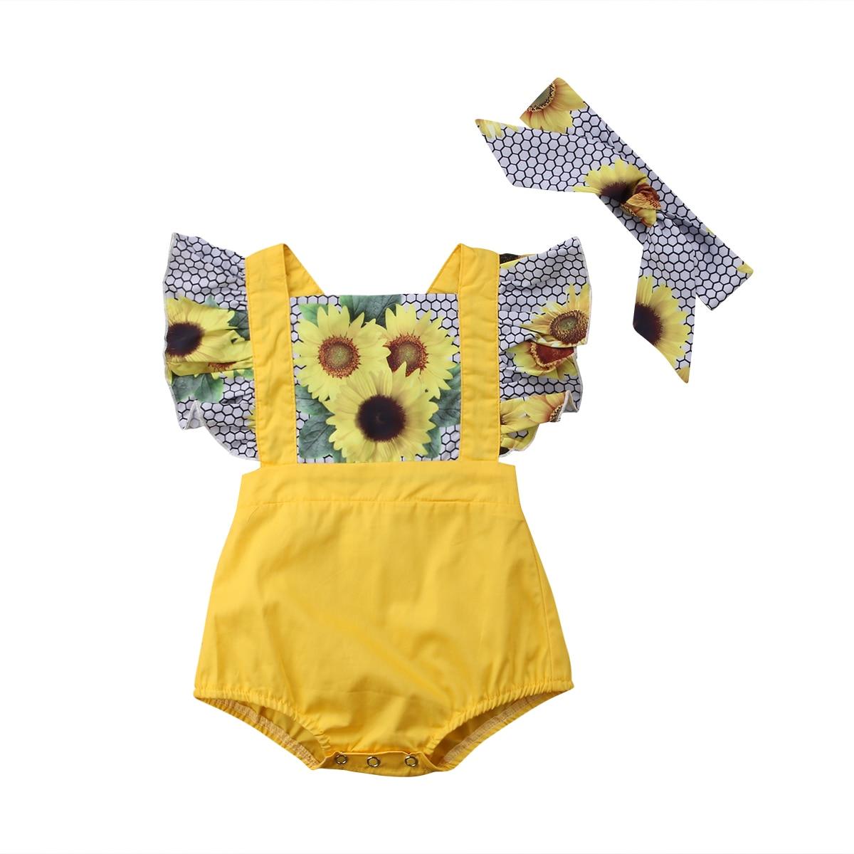 2018 sommer Neugeborenen Kinder Baby Mädchen Sunflower Body Overall Sunsuit Outfits Größe 0-24 M