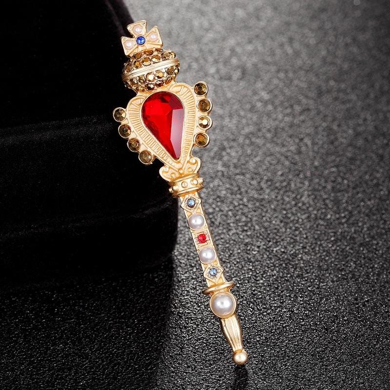 Broche de varita mágica de la marca europea Crown, joyería para mujeres, hombres, regalos de fiesta, accesorios de ropa para niñas, sombreros de moda, pin