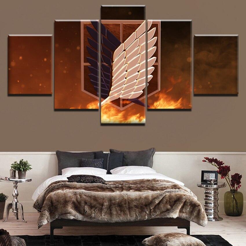 Lienzo moderno pared arte impresión decoración del hogar marco de fotos 5 piezas Anime el ataque de los titanes alas de la libertad Pintura anime Poster